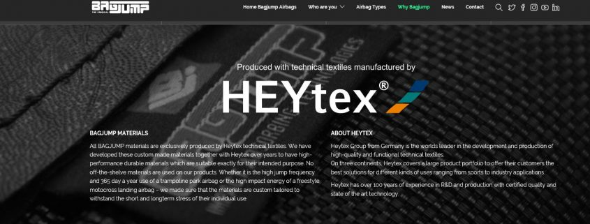 Heytex materials for BAGJUMP